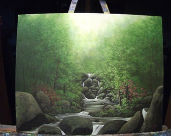 Smokey Mountains, River, Waterfall, Stream, Spring, Summer, Trees Original Landscape Oil Painting