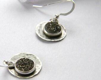 Druzy earrings. Sterling Silver Druzy Earrings. Made in Maine. Handmade Hammered Earrings. Made in USA. Wearable art drusy. Artisan jewelry