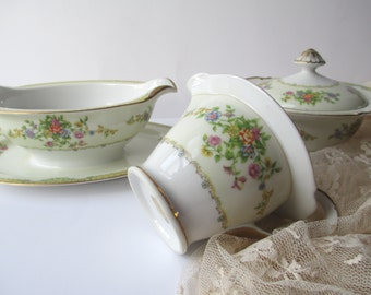 Vintage Newloch China Pink Floral Cream and Sugar and Gravyboat Set