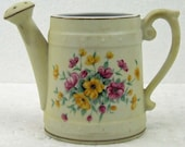 Vintage Lefton Watering Water Can Porcelain Planter Lovely Garden Pattern Cottage Chic