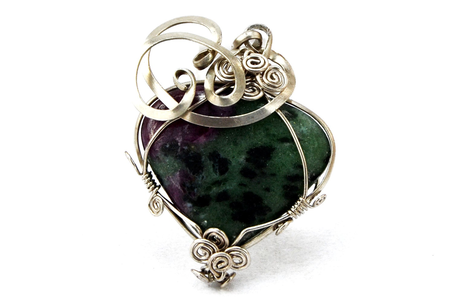 green pendant wire wrap pendant ruby zoisite by