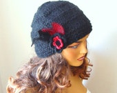 Hand Crochet  Red Black Hat Beanie Beret, Women Winter hat,Red Beanie, Winter Accessories, Holiday Accessories