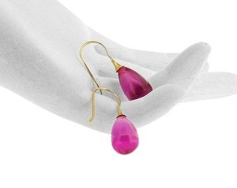 Brilliant Hot Pink Topaz Smooth drop 14K earrings