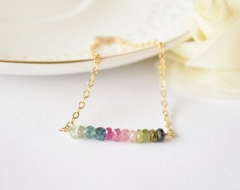 Rainbow Tourmaline Gemstone Bar Bracelet - Layering