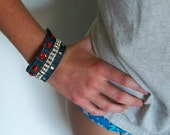 Denim Upcycled Jeans Bracelet Wrist Cuff Recycled Jewelry Cuff Boho Fabric Cuff Gypsy Chic Cowgirl Denim Festival Clothing Bangle