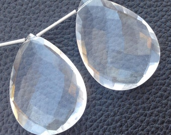 Brand New, ONE Matched Pair, 35x25mm Elongated Pear, ROCK CRYSTAL Quartz Faceted Pear Pair,Amazing Item at Low Price