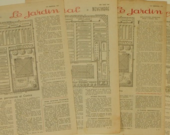 GARDEN  PLANS 4 pages from 1954 and 1955  Vintage French Rustica Magazines