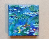Monet water lilies original mini gouache painting on canvas