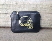 Skull Pouch, Leather Pouch, Gold Skull, Skull Zip Pouch