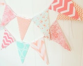 Banner, Bunting, Cotton Fabric Flags, Party Banner, Pink, Soft Peach, Teal, Light Aqua, Wedding Decor, Photo Prop, Baby Nursery Decor