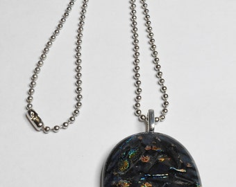 Fused Glass Pendant Necklace Copper Orange Green Black Handmade With 16 Inch Ball Chain Silver Plated Bail