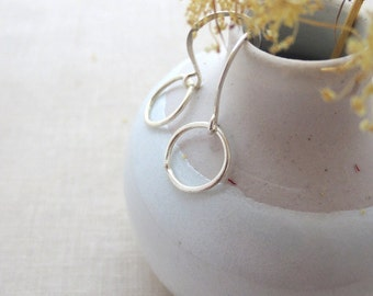 Small Sterling Silver Circles Everyday Drop Earrings