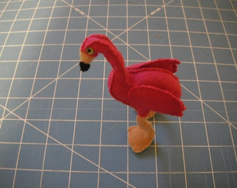 Felt Flamingo / Stuffed Bird / Stuffed Animal / Hand Sewn / Felt Bird
