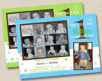 12 Months of Cuteness Custom 1st Birthday Party Invitation Design