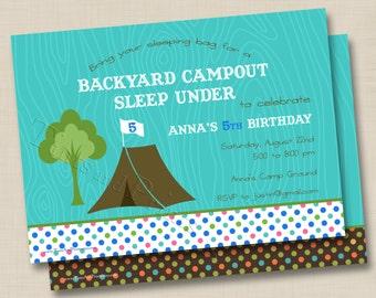 Backyard Campout Sleep Under Custom Birthday Party Invitation Design
