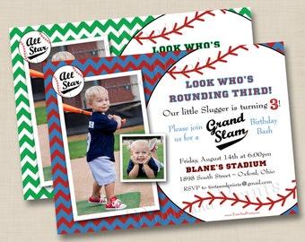 Grand Slam Baseball Custom Birthday Party Photo Invitation Design- any age