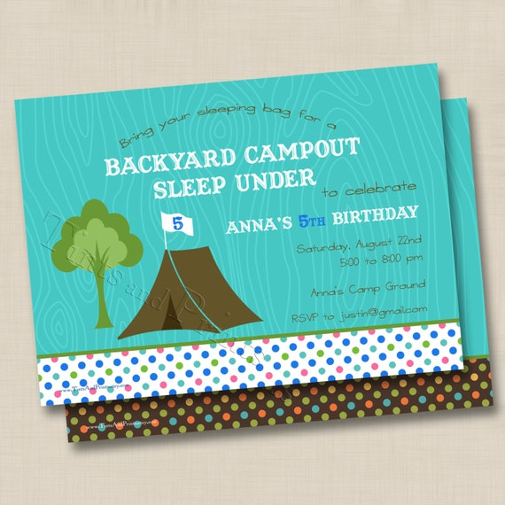 Backyard Campout Sleep Under Custom Birthday Party Invitation Design