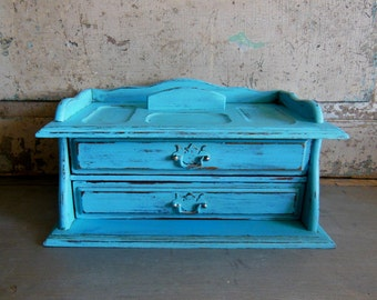 Jewelry Box Valet Turquoise Distressed Vintage Upcycled