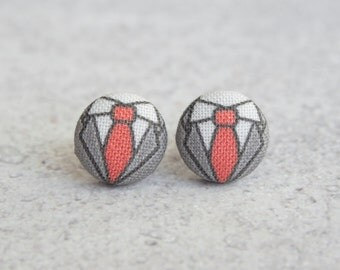 Business Professional, Fabric Covered Button Earrings
