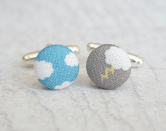 Fifty Percent Chance, Fabric Covered Button Cufflinks