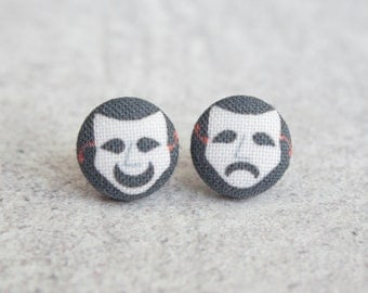 Comedy and Tragedy Fabric Button Earrings