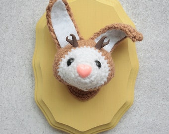 Faux Taxidermy Jackalope, White and Tan Bunny on Mustard Yellow Plaque