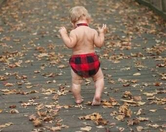 Baby diaper cover boys nappy cover fabric diaper cover lumberjack red and black buffalo check flannel plaid  toddler diaper cover - Ryan