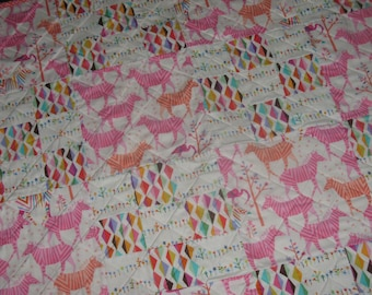 Pink Zebras on Safari Crib Quilt