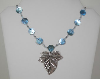 "16"" Elegant Antiqued Silver Tone Leaf Pendant Necklace Blue Abalone Shells & Seed Bead Accents Ladies Fashion New Nature Inspired Gift Idea"