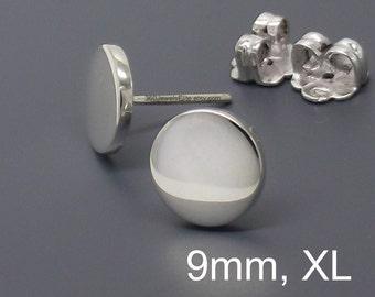 Men's stud earrings, 9mm chrome disc stud earrings for men, fake plug earrings, men's earrings, silver stud earrings,  nail it down, 420 9SW