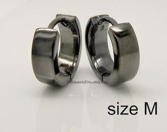 Men's hoop earrings, obsidian coal hoop earrings, men's earrings hoops, black gold hoop earrings, 9mm hoop earrings, huggie hoops,  E150SB