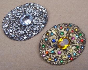 Vintage rhinestone brooch 2 rhinestone pin Hollywood Regency destash up cycle recycle