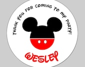 20 Personalized Round Mickey Birthday Labels
