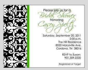 Damask Bridal Invitation Printable ~ Bridal or Engagement Shower Invitation ~ You print or WE CAN!