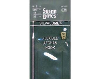 12122 Size G - 6 (4mm) 22 Inch Silvalume Flexible Afghan Crochet Hook
