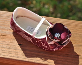 Toddler Girl Shoes Baby Girl Shoes Soft Soled Shoes Wine Lace Wedding Shoes Easter Shoes Flower Girl Shoes Wine Shoes - Juliette