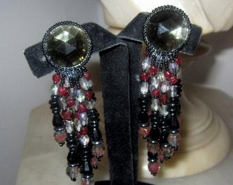 Vintage Art Glass Long Dangle Earrings