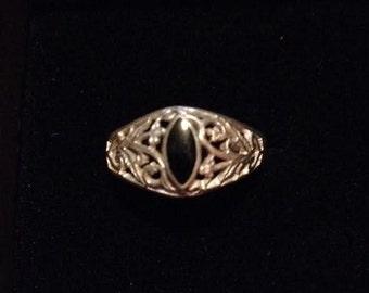 Set of 2 Vintage Sterling Silver & Black Onyx Rings Sizes 8 9 Filigree