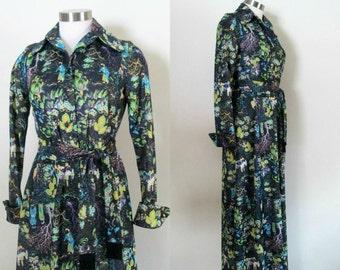 Asian Maxi Dress Boudoir Gown / Vintage 1960s 1970s Leslie Fay