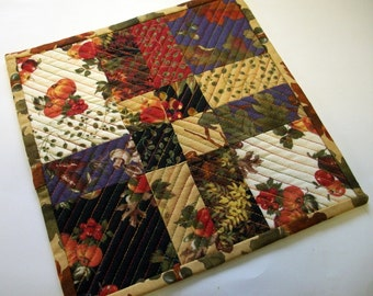 Fall Autumn Mug Rug Snack Mat Coaster Quiltsy Handmade Quilted FREE U.S. Shipping