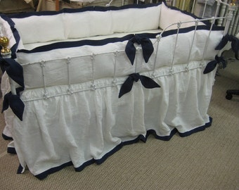 Tailored Crib Bedding in Washed Linen-Custom Angled Ties-Fitted Crib Sheet-Tailored Bumper-Gathered Crib Skirt with Hem Detail
