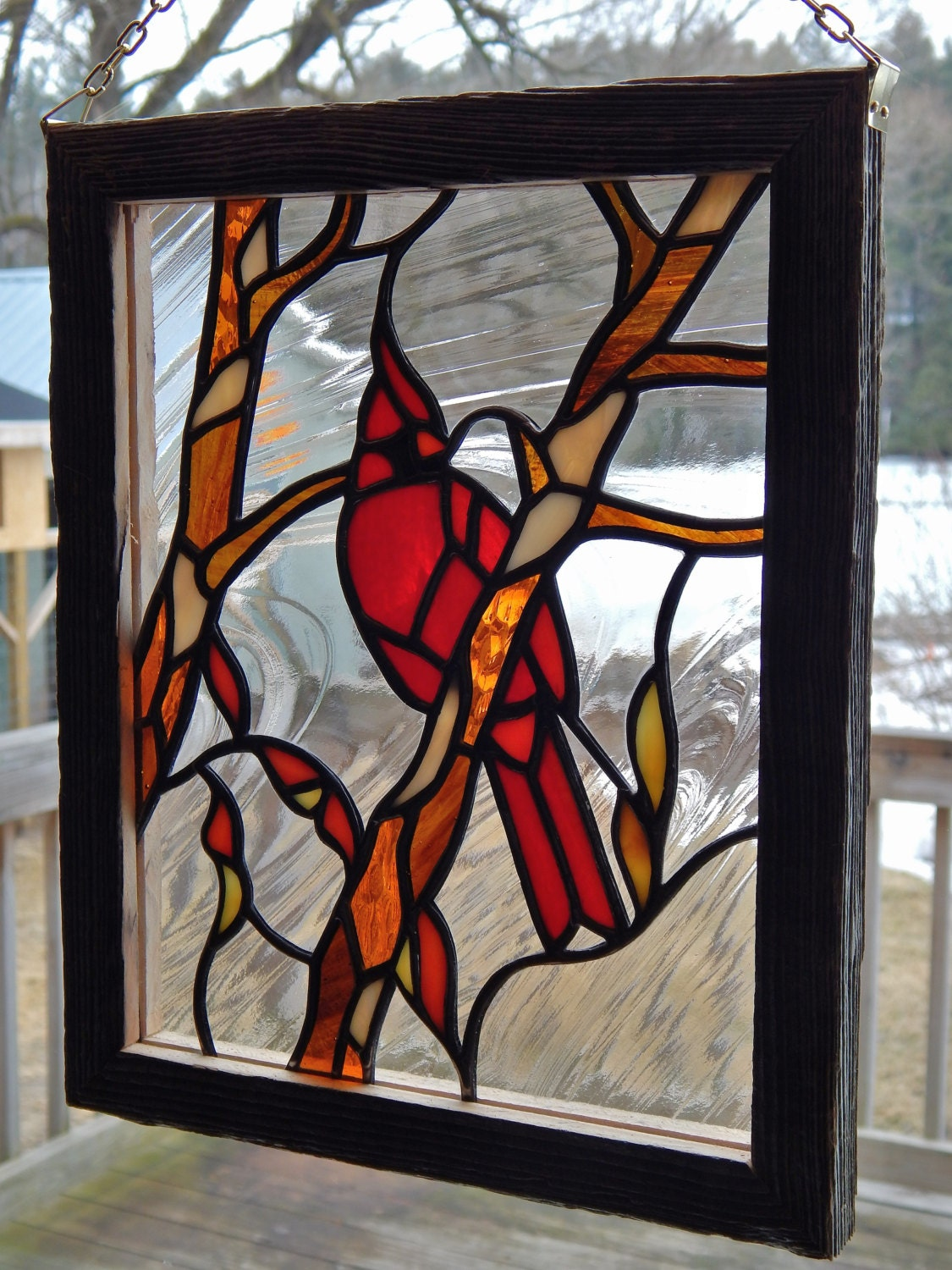 Stained Glass Cardinal Panel With Barn Board Frame
