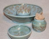 "Cat Fountain  Set, Treat Jar, Food Bowl Set  - 12.25 Inch Diameter -""Java"""