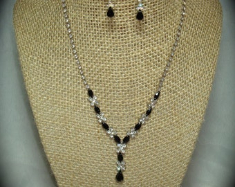 1992 Silver Tone Rhinestone and Black Jeweled Necklace Set.