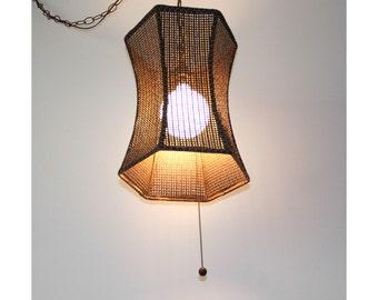 Mid-Century 1970s Rattan Swag Lamp REWIRED