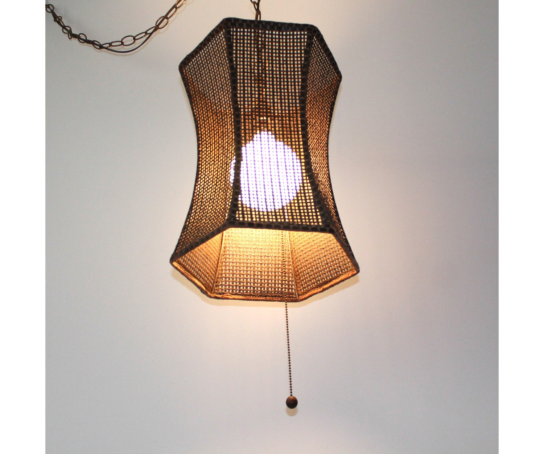 Mid Century Swag Lamp: Mid-Century 1970s Rattan Swag Lamp REWIRED