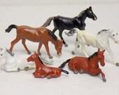 1960s Miniature Horses Set of 6, Mini Plastic / Resin Farm Animals, Germany, Terrarium Decor, Cake Toppers, Dollhouse, Party Favors