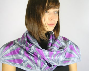 Silk scarf silver grey purple , hand painted scarves , gifts for her