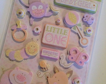 Animal Tales Baby Girl Dimensional Stickers 12pcs // K&Company