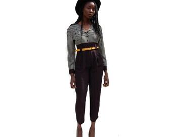 Black and ecru color block striped pantsuit 1980s 80s 90s VINTAGE